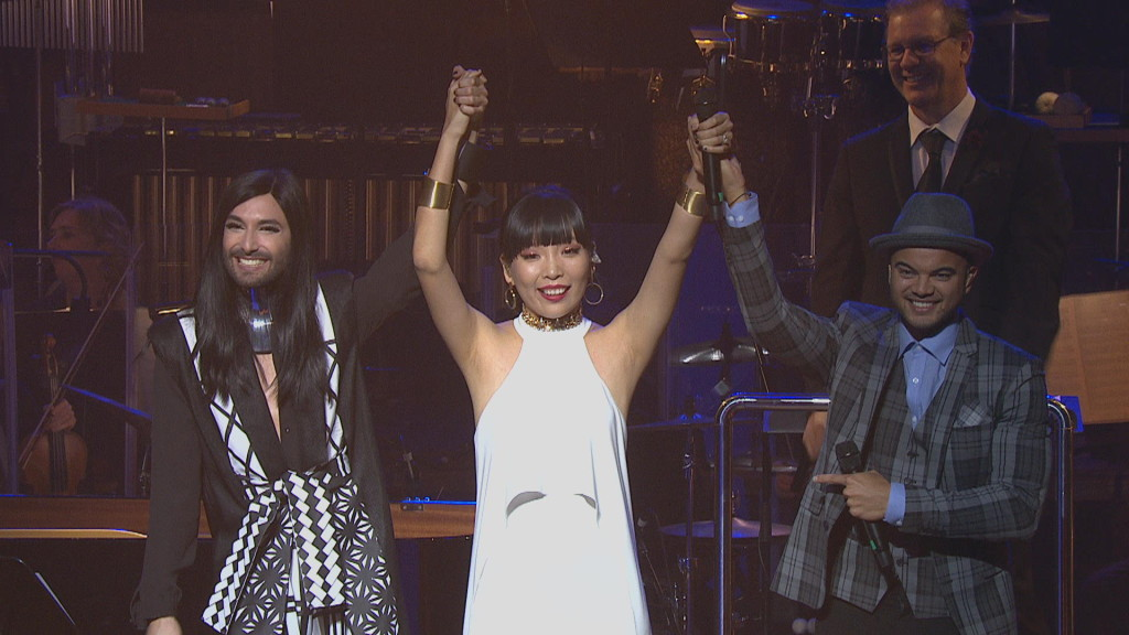 Dami Im - Eurovision announcement with Conchita Wurst and Guy Sebastian